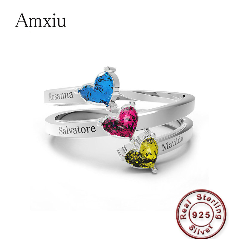 Amxiu Custom Three Names with Birthstones Ring 925 Sterling Silver Rings For Lovers Fashion Jewelry Ring For Women AccessoriesAmxiu Custom Three Names with Birthstones Ring 925 Sterling Silver Rings For Lovers Fashion Jewelry Ring For Women Accessories