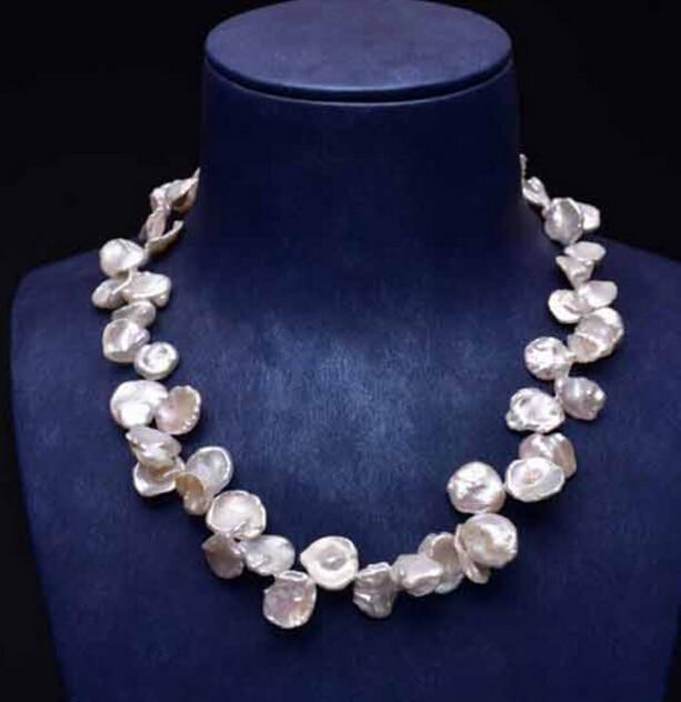 Vente chaude-16 pouces 12-18mm Blanc Naturel Baroque Keishi Perle Collier-bijoux De Mariée livraison gratuite