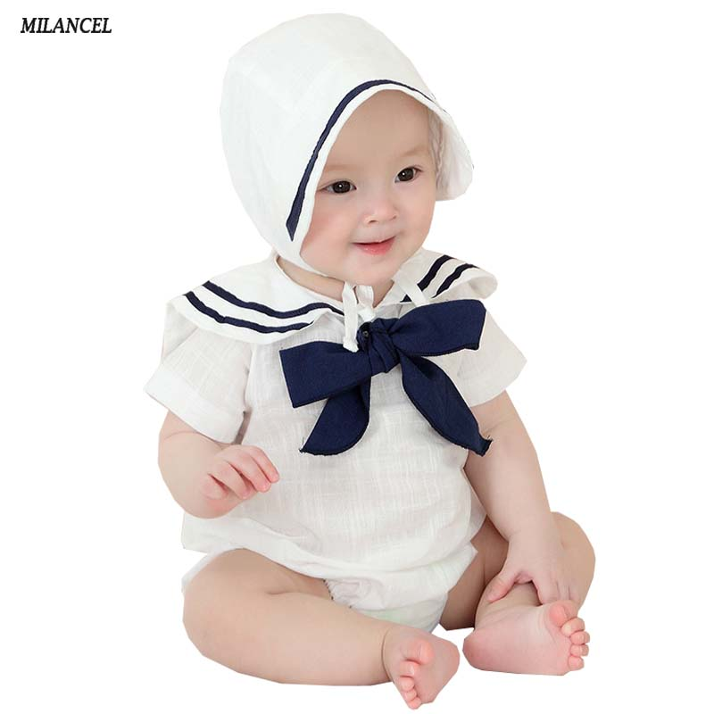 MILANCEL 2018 Baby Boys Clothes Newborn Baby Girls Clothes Cotton Bodysuits with hat 2 Pcs Toddler Clothing