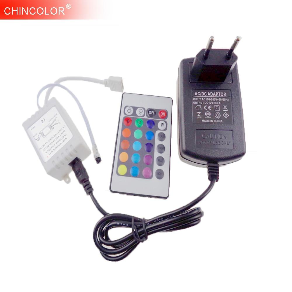 RGB Controller + 12V 2A Power Supply Adapter 24 Key IR Remote Wireless EU  US Cord For 5050 3528 3014 RGB LED Strip Light UW