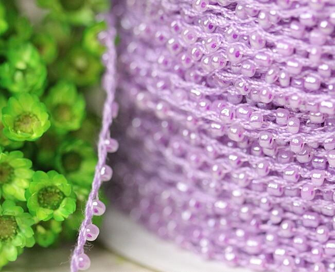 0 2CM Wide New purple bead Embroidery flower lace fabric trim ribbon DIY sewing applique collar cord dress wedding guipure decor in Lace from Home Garden
