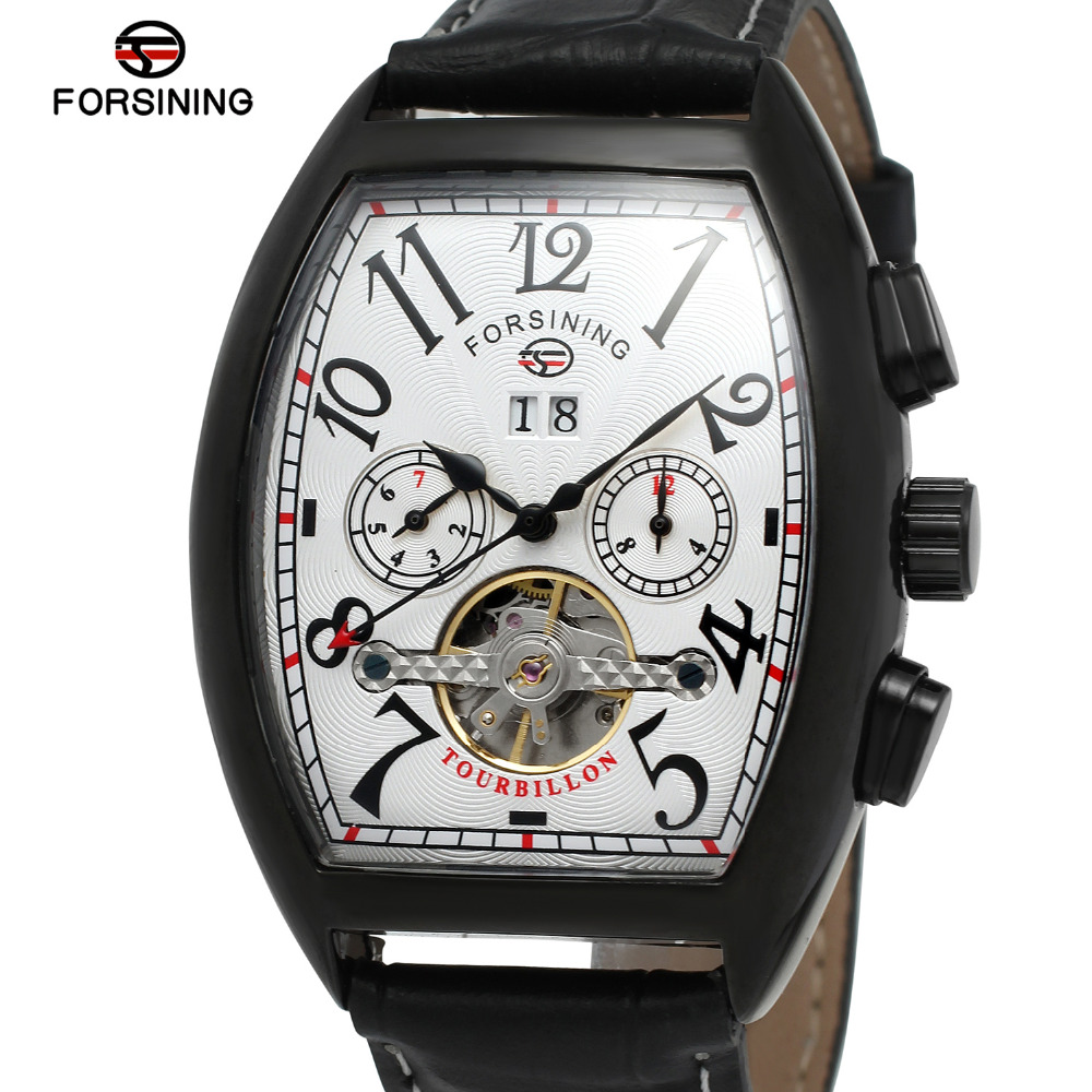 Forsining Men s Watch High End Automatic Calendar Geniine Leather Strap Tourbillion New Arrival Wristwatch Color