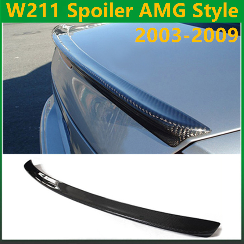 Mercedes W211 AMG style carbon fiber rear wing spoiler trunk boot lip spoiler for benz E class 2003 - 2009 W211 AMG E320 mercedes w212 car styling carbon fiber replacement spoiler for benz e class w212 amg style 2010 rear trunk tail spoiler wing