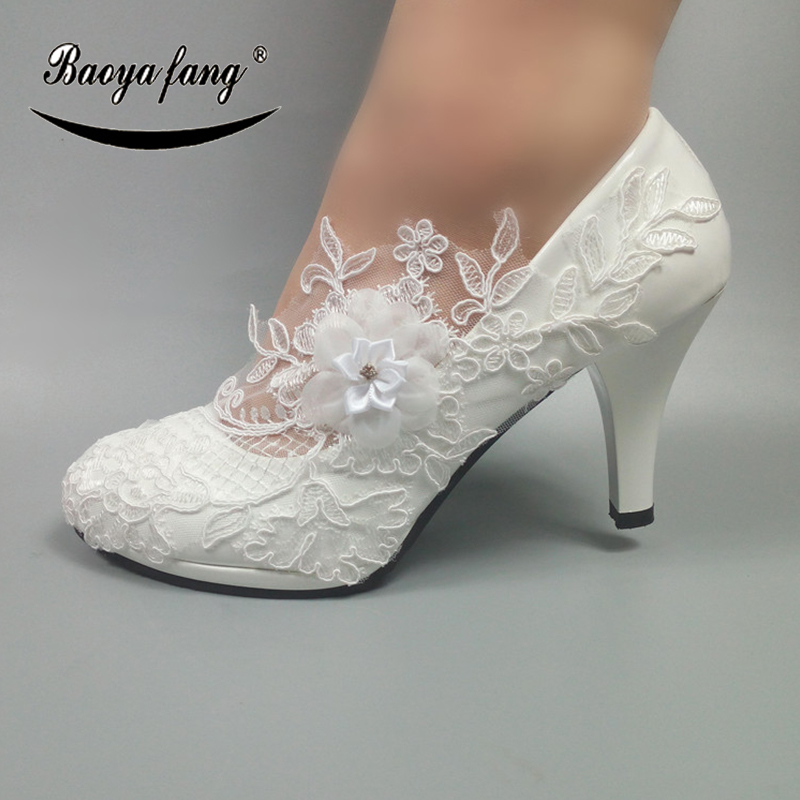 BaoYaFang White Flower Womens Wedding Shoes Fashion Crystal Party dress shoes High heels platform shoes 5cm