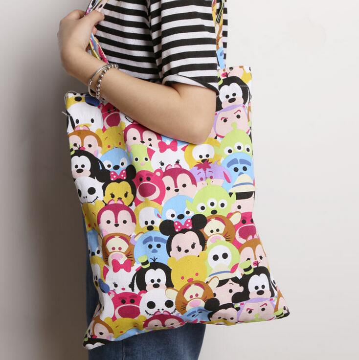 tsum Mickey Minnie Diagonal canvas tote bag big bucket burden casual everyday bags Backpacks two styles