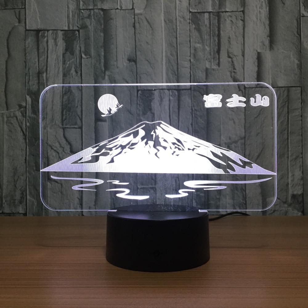 Japanese Snow Mountain Fuji Shape 3D LED Lamp Sun Colorful 3D Night Light Creative Desk Table Lamp USB Decorative Friend Gift creative tractor shaped 3d led desk light colorful car night light remote control indoor lighting acrylic table lamp wholesale