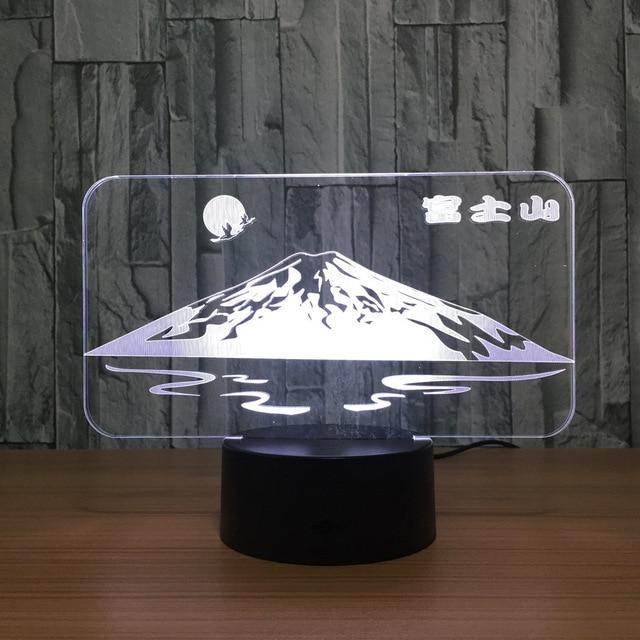 Us 12 86 35 Off Japanese Snow Mountain Fuji Shape 3d Led Lamp Sun Colorful 3d Night Light Creative Desk Table Lamp Usb Decorative Friend Gift In