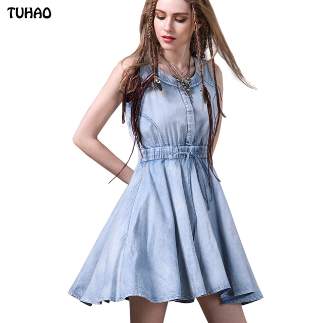 2017 Summer Tank Dress Women Large Swing Jeans Denim Dresses For Ladies  Adjustable High Waist Vest e522bbb1a