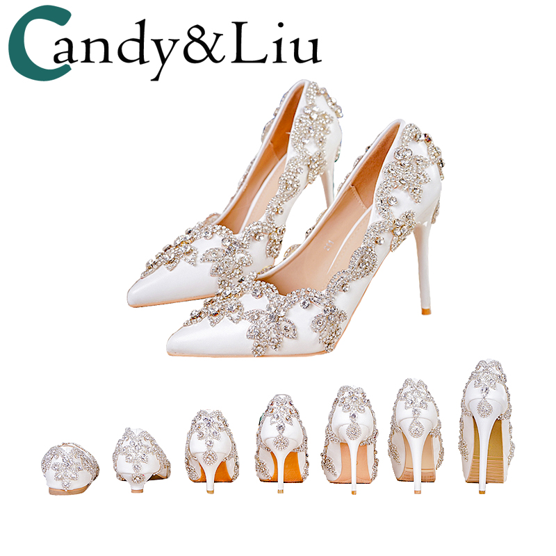 цена Women Shoes High Heels Wedding Thin Heels White Diamond Glittering Evening Dress Shoe Bride Shoes Crystal Pumps For Party