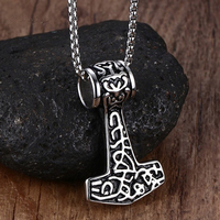 XUANPAI Jewelry Biker Black Tribe Necklaces Stainless Steel Thors Hammer Mens Pendants Chain