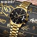NIBOSI גברים שעונים יוקרה מפורסם למעלה מותג גברים של אופנה מזדמן שמלת שעון צבאי קוורץ שעוני יד Relogio Masculino Saat