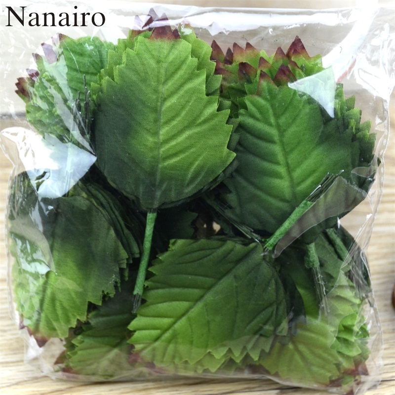 Hot 120 pcs Green Artificial Leaf Bouquet For Wedding Home Decoration DIY Garland Rose Leave Floristry Craft Flowers Accessories