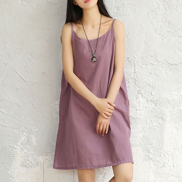 fd3bf6b0d520 Short Dress Womens Basic Solid Spaghetti Strap Dress Loose Casual  Sleeveless Purple Blue Wine Black White Slip Mini Dress