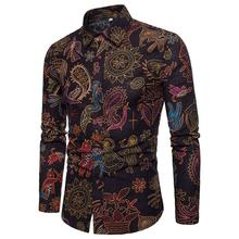 Flower Long-sleeved Shirt Mens clothing Large size Ethnic style Flax Linen Blouse Men Hawaiian Floral