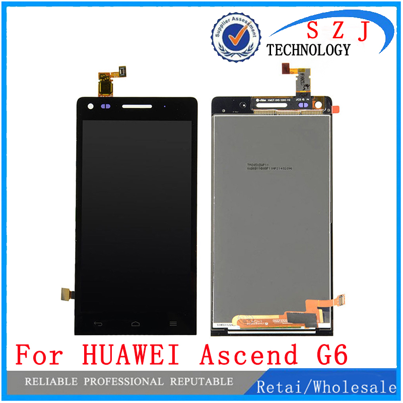 New 4.5'' inch case Black For Huawei Ascend G6 LCD Display + Touch Screen Digitizer Assembly Replacements Free Shipping high quality silver for htc one m7 lcd display touch digitizer screen frame back door battery cover case housing