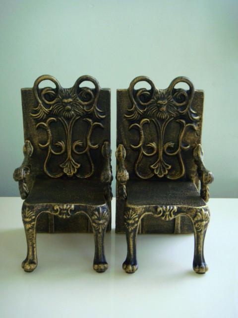 2 Cadeiras de Ferro Fundido Antigo Forma Suporte de Suporte de Livro - Decoração de casa - Foto 2