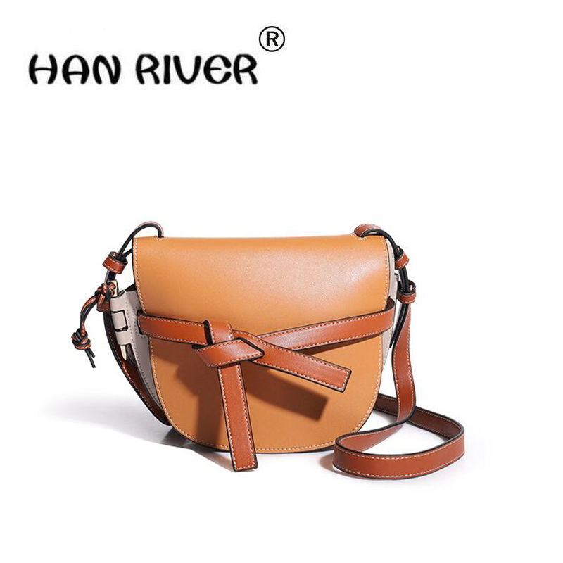 HANRIVER 2018 summer new leather womens bag European and American womens bag with oblique shoulder saddleHANRIVER 2018 summer new leather womens bag European and American womens bag with oblique shoulder saddle