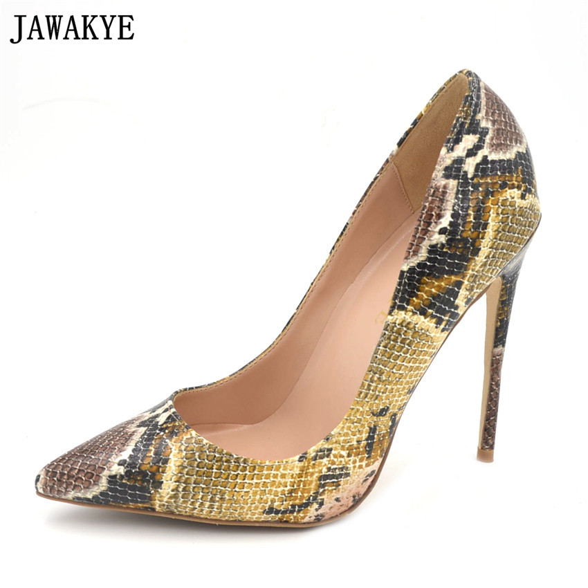 JAWAKYE <font><b>Top</b></font> <font><b>Quality</b></font> Snake Printed <font><b>Women</b></font> <font><b>Shoes</b></font> <font><b>Sexy</b></font> <font><b>High</b></font> <font><b>Heels</b></font> <font><b>2018</b></font> Pointed Toe Party snake skin <font><b>Women</b></font> <font><b>Pumps</b></font> wedding <font><b>shoes</b></font> image