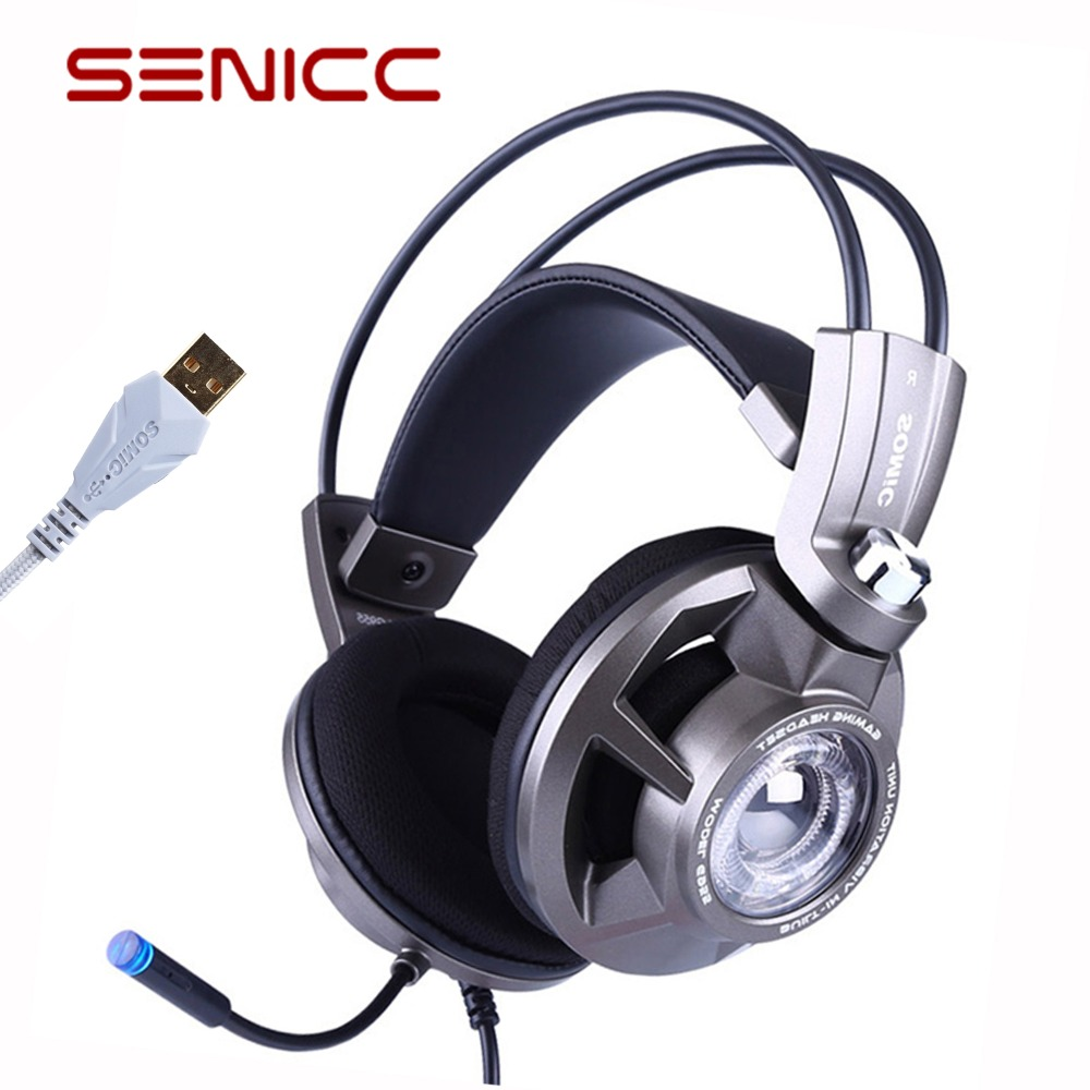 Somic G955 USB 7.1 Over-ear Gaming Headset Headphones with Mic Noise Cancelling Stereo Bass Vibration headband for PS4 PC Games цена