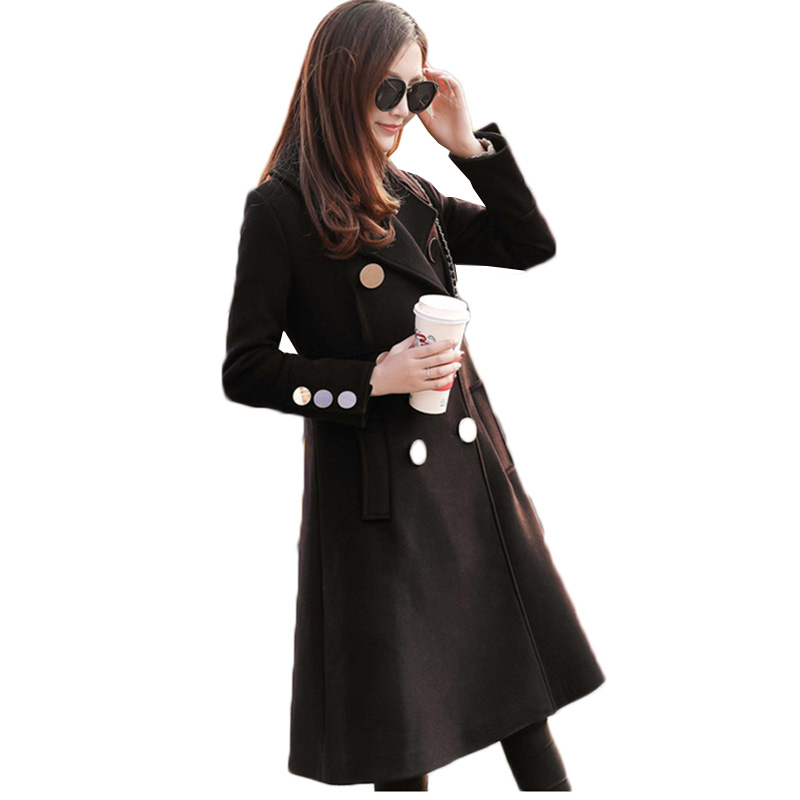 Woolen coats female 2018 new women winter jacket ladies long slim woolen coat temperament black thicken warm woolen coat female