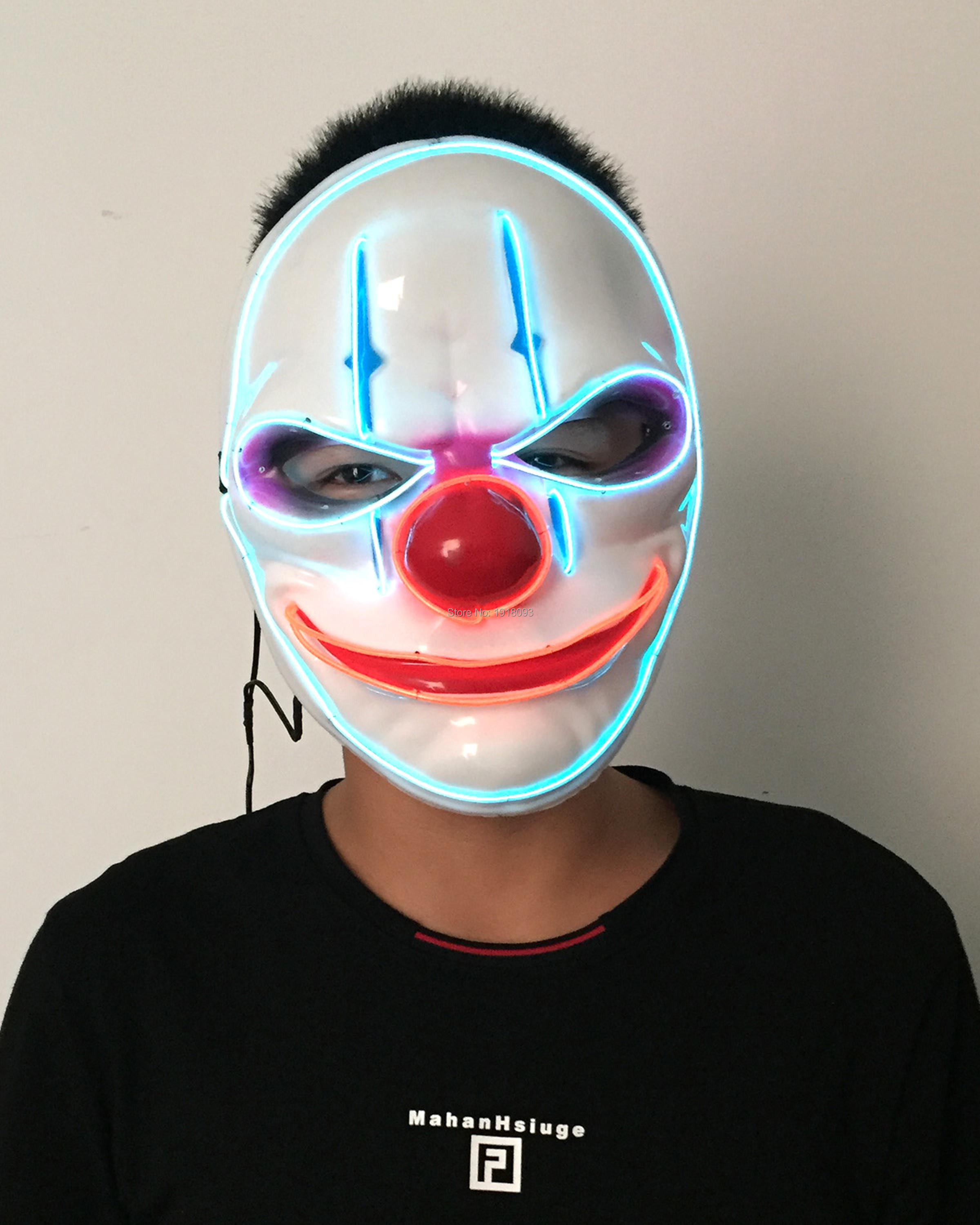 Funny Blinking Old man clown Mask EL Wire Glowing Neon Light Mask ...
