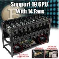 S SKYEE Brand New USB Switch Black Aluminum 19 GPU Open Air Mining Rig Frame Case