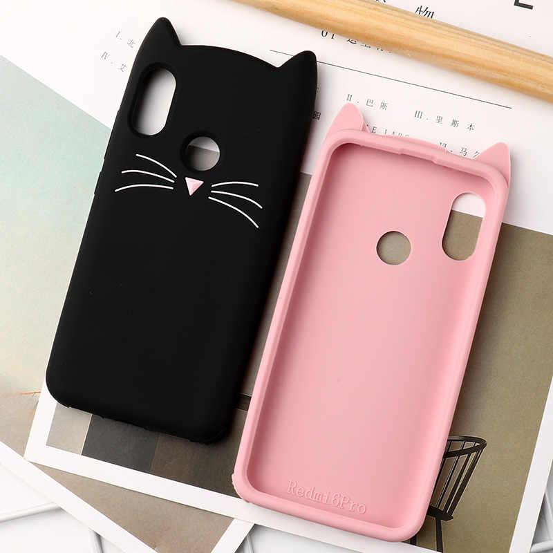 電話 3D ためのかわいいシリコンケースシャオ mi 赤 mi 6 プロケース漫画髭猫ソフトカバーシャオ mi mi A2 Lite 保護バンパー