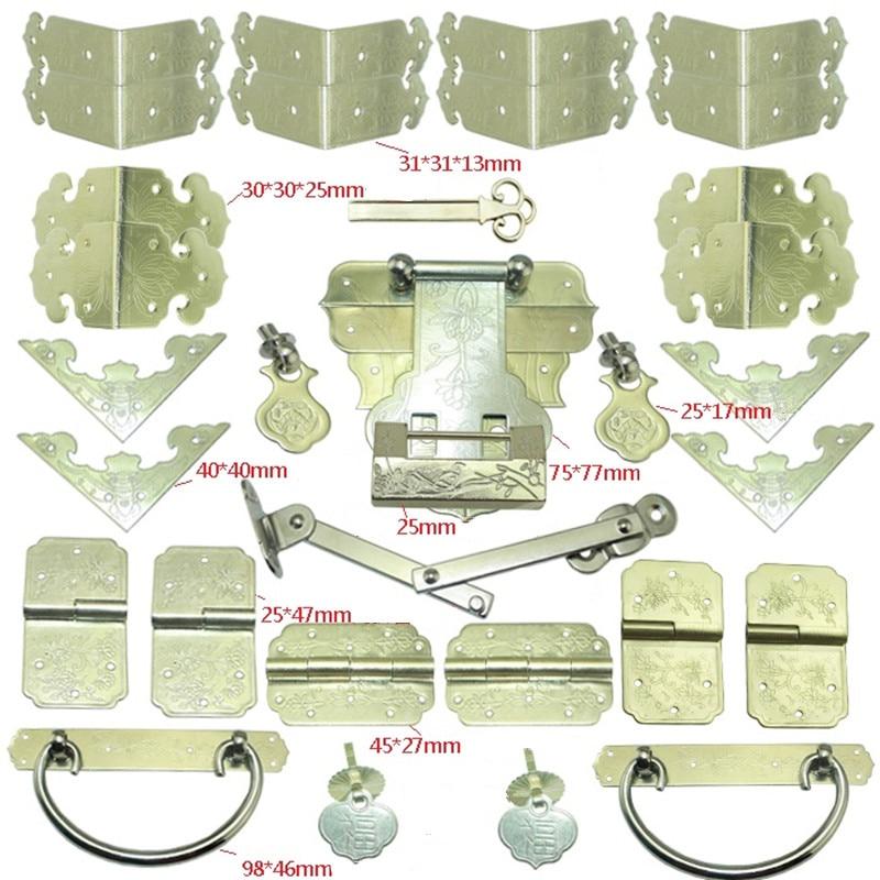 Здесь продается  Antique Yellow Brass Lock Set,Vase Buckle Metal Wooden Box Hasp Latch Lock,Decorative Hasp,Pattern Carved Hinge+Handle+Lock  Аппаратные средства