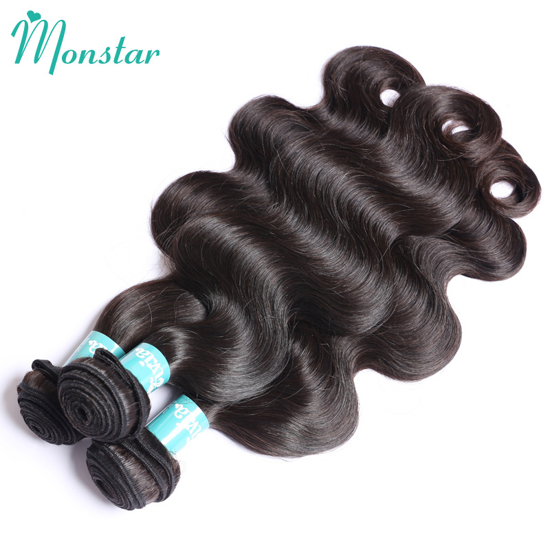 Monstar Products Body Wave Brazilian Human Hair with Frontal  30 Inch Natural Color Bodywave 2/3/4 Bundels with Frontal Closure-in 3/4 Bundles with Closure from Hair Extensions & Wigs    3