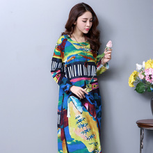 Chinese National Style Long Dress Floral Print Casual Women Plus Size Clothing 2017 New Arrival Autumn Loose Dresses Vestido