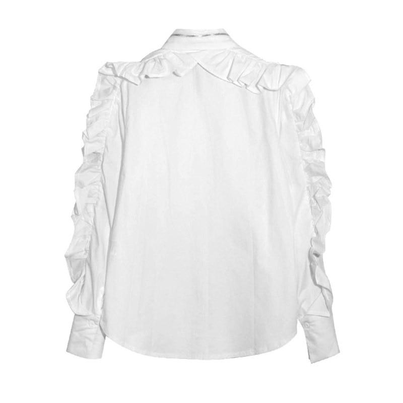 De Qualité Femmes Patchwork Manches Haute Col Designer Zipper Turn B316 Chemises Fashion Blouses Longue Ruches Piste À Blanc Down Nouvelle 4nXYwq