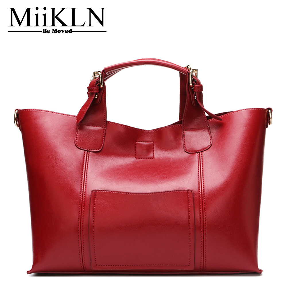 MiiKLN Genuine Leather Luxury Handbags For Women Bags 2017 Causal Tote Larger Cow Leather Women Shoulder Crossbody Bag