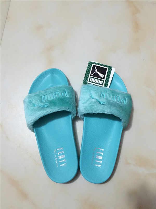 48282d752fc ... Puma Rihanna Fenty Rihanna co-brand new puma plush slippers macarons  purple women shoes Beach ...