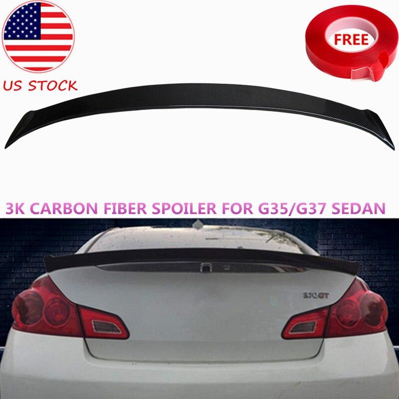 Bat Styling X Typ 3 K Real Carbon Fiber Spoiler Für Infiniti G35 G37 Limousine 4DR Hinten Boot Splitter flügel 2007 2016 UNS Lager
