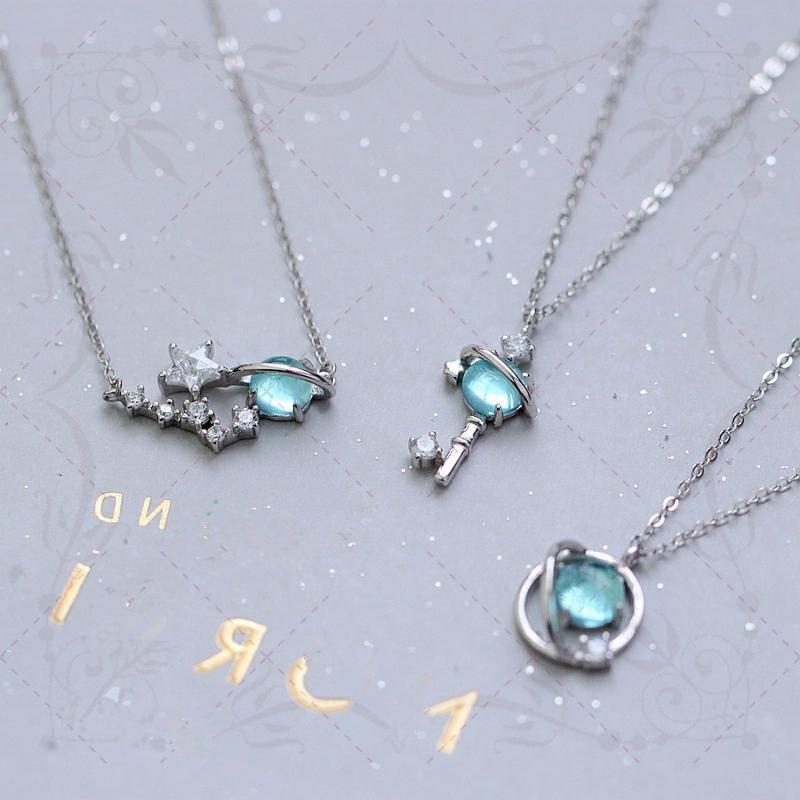 Necklace Bracelet Jewellery-Set Universe-Key Minimalist Pendant Stud-Earrings Moonstone