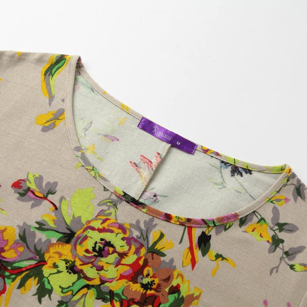 EaseHut 19 New Vintage Women Maxi Floral Dress Plus Size Long Sleeves Pockets O Neck Cotton Linen Loose Robe Dresses vestidos 13