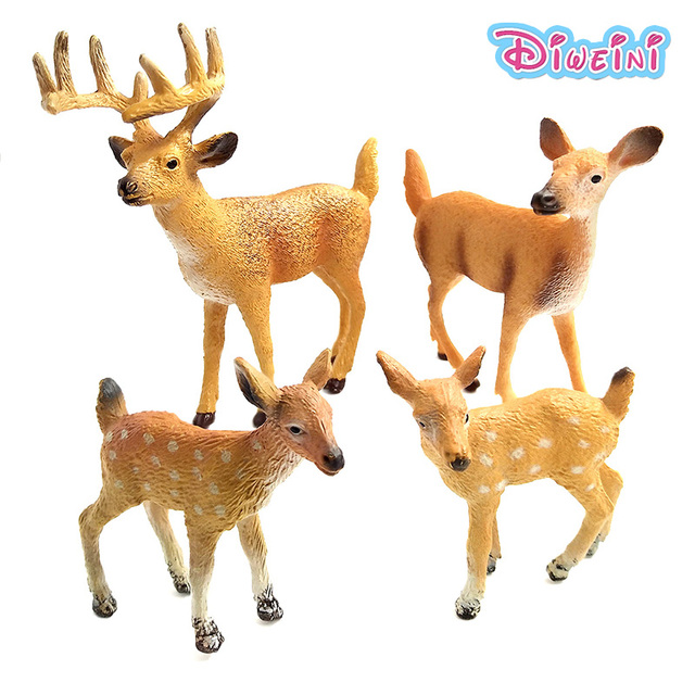 Simulation Plastic Animal Models Toys Figurine Stag Doe Small Christmas Deer Fairy Garden Home Decor