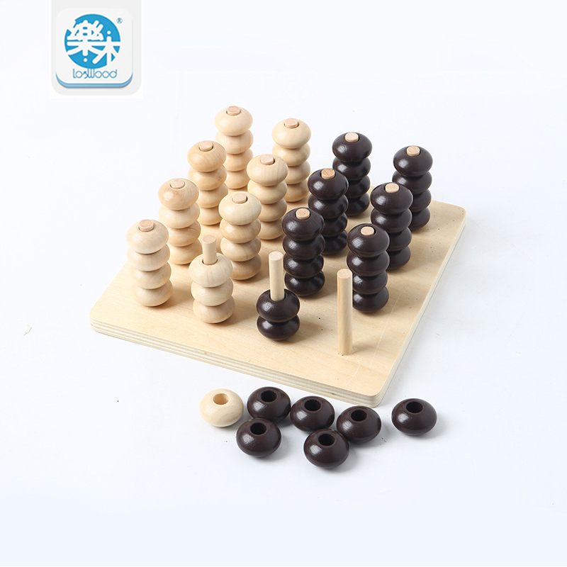 Wooden toys montessori preschool education benefit wisdom stereo connect four teaching toys gifts for children