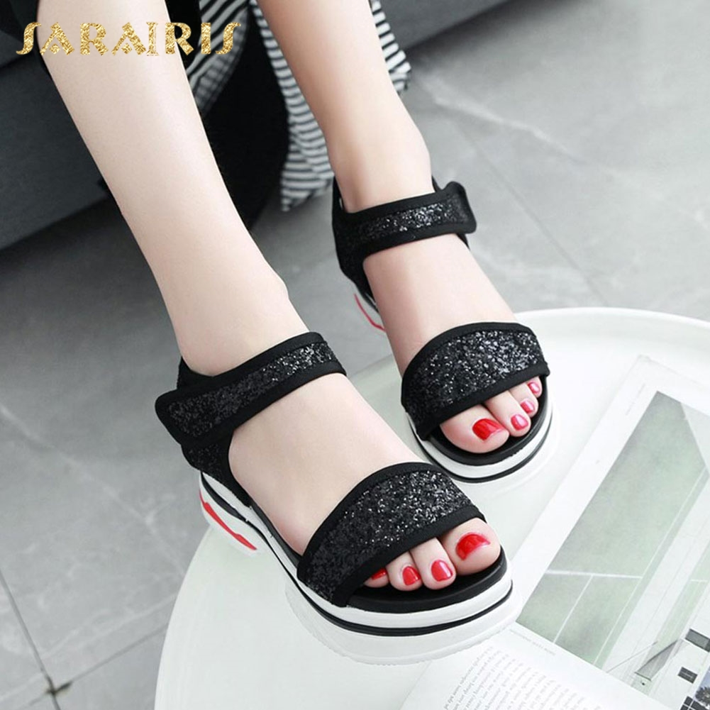 4d94911334e Aliexpress.com   Buy SaraIirs Glitter Comfy Flat Sole Ankle Strap Hook   Loop  Open Toe Platform Summer Shoes Woman Sandals Large Size 32 42 from Reliable  ...