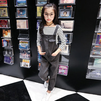 Girls Autumn Clothing Set Jeans Overalls + Stripe Tops Two Piece Set Kids Tracksuit Set Denim Trousers and T shirts for Children