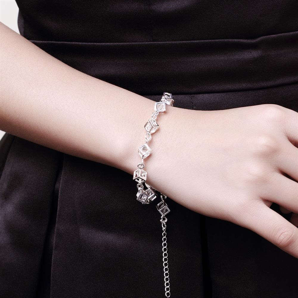 SHE WEIER Charms Chain Geometry Bracelet Silver Jewelry Women Femme Friendship Zircon Bracelet and Bangles Acessories Bilezik