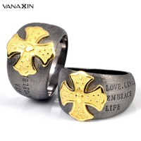 VANAXIN 925 Silver Wide Cool Rings Men Hip Hop Cross Jewelry Party Rings Male Fashion 925