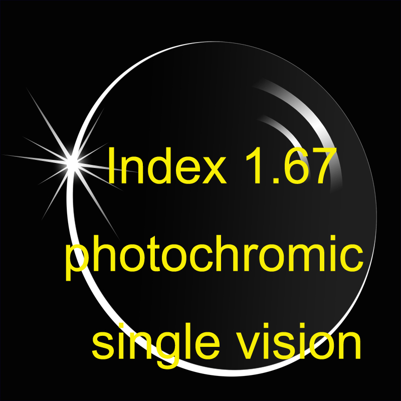Index 1 67 Aspheric Photochromic single vision lens AR coatings super thinner Prescription lens Transition lens