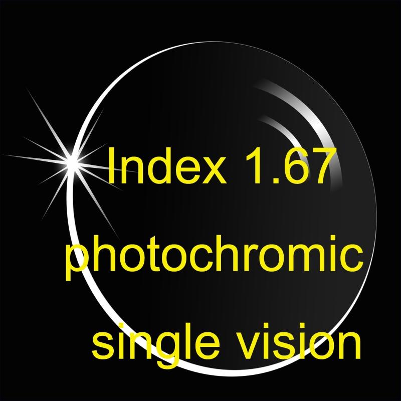 インデックス 1.67 非球面フォトクロミック単焦点レンズ AR コーティング/スーパーシンナー処方レンズ/遷移レンズ/ブラウングレー  グループ上の アパレル アクセサリー からの アクセサリ の中 1