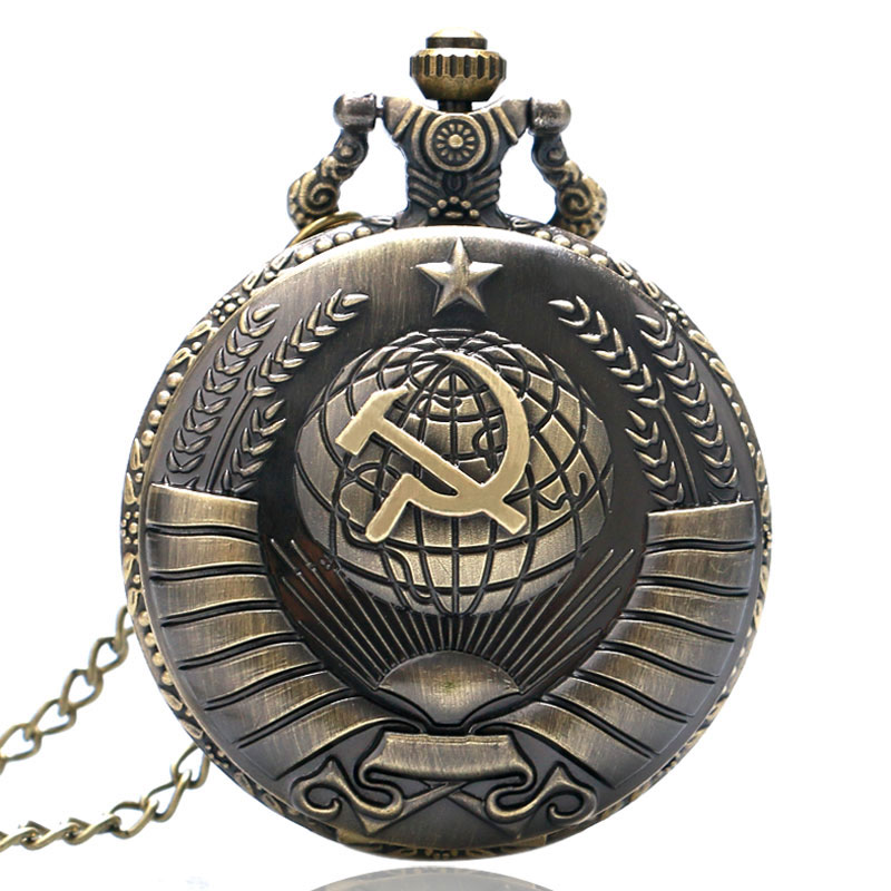 Antique Bronze Soviet Sickle Hammer Style Pocket Watch With Necklace Chain Best Gift Free Shipping