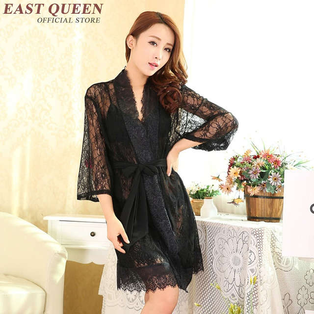 514bf24564f US $28.05 45% OFF|See through nightgown silk wedding robes for women  romantic nightgowns satin romantic nightgowns white black robe vintage  AA434-in ...