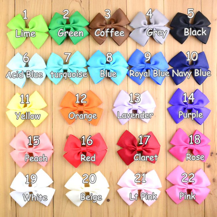 3 54 inch Ribbon Bows WITH CLIP 110pcs lot Summer Style 22Color Girls Hair DIY Accessories