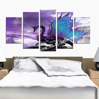 5 Pieces Frozen Poster Wall Art Canvas Painting Nordic Wall Pictures for Living Room Decor Mural Decoration Picture Art Print