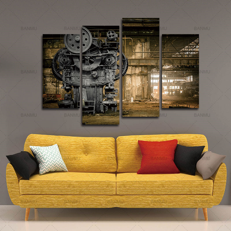 4 Panels Canvas Photo Prints Metallurgical Firm Waiting For A Demolition Machine Wall Art Paintings Wall Decorations