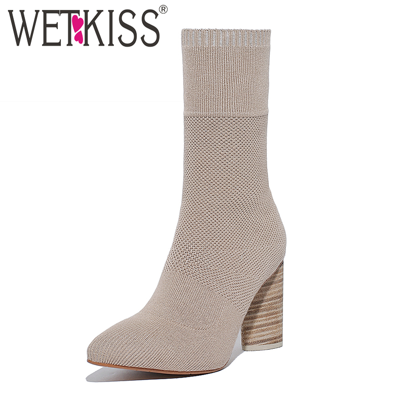 WETKISS Brand Designer Socks Boot Women Stretch Fabric Short Female Boot Thick High Heels Pointed toe Sexy Boots Woman Shoes brand women autumn winter boots 8 5 cm square heels fashion stretch fabric socks boots woman pointed toe boots for women k 067